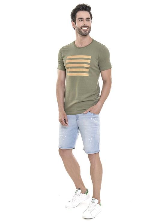 Bermuda Jeans Dialogo Delavê Com Respingos de tinta Masculina