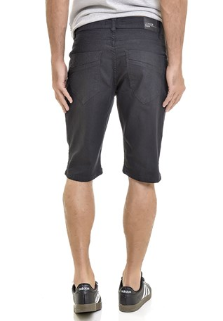 Bermuda Jeans Lemier Collection Slim Masculina Preta