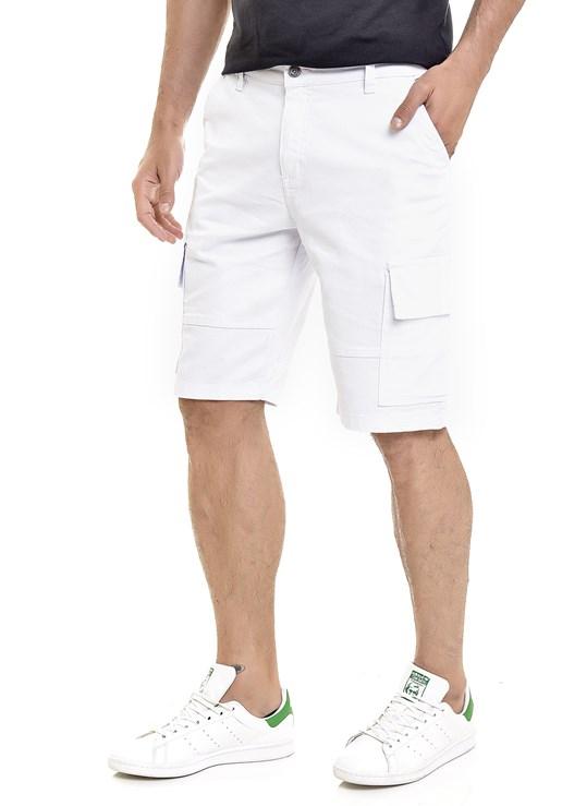 Bermuda Sarja Lemier Collection Cargo Masculina Branca