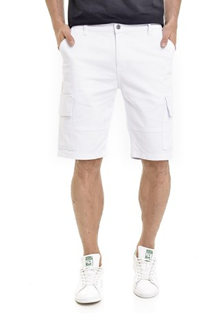 Bermuda Sarja Lemier Collection Cargo Masculina Branca