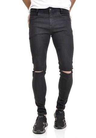 Calça Jeans Dialogo Skinny Com Rasgos Preta Masculina