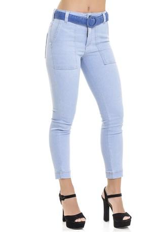 Calça Jeans Dialogo Skinny Cropped Cintura Alta Feminina