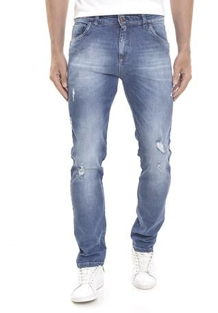 Calça Jeans Dialogo Slim Fit Lavagem Vintage Com Puidos Masculina