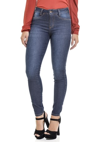 Calça Jeans Lemier Collection Skinny Com Bordado Media Feminina
