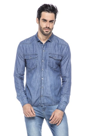 Camisa Jeans Com Bolso Lemier Collection Masculina