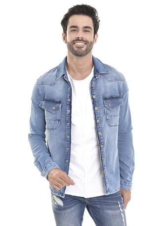 Camisa jeans Dialogo Com Botões de Pressão Frontal Masculina