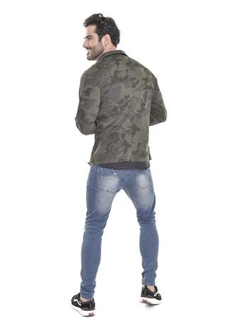 Camisa Sarja Dialogo Camuflada Com Botões Frontais Masculina