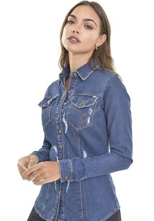 Camisete Jeans Dialogo Com Botões e Puidos Feminina
