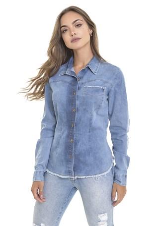 Camisete Jeans Dialogo Com Pence e Bolso Feminina