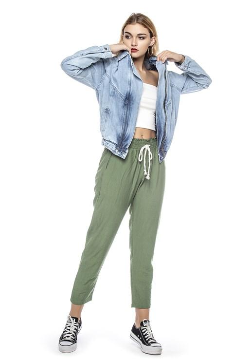Jaqueta Jeans Dialogo Com Elastico Feminina