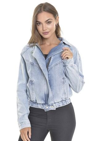 Jaqueta Jeans Dialogo Delavê Com Zíper Frontal e Bolso Embutido Feminina