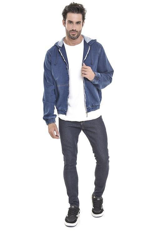 Jaqueta Jeans Dialogo Moletom Com Capuz e Zíper Frontal Masculina