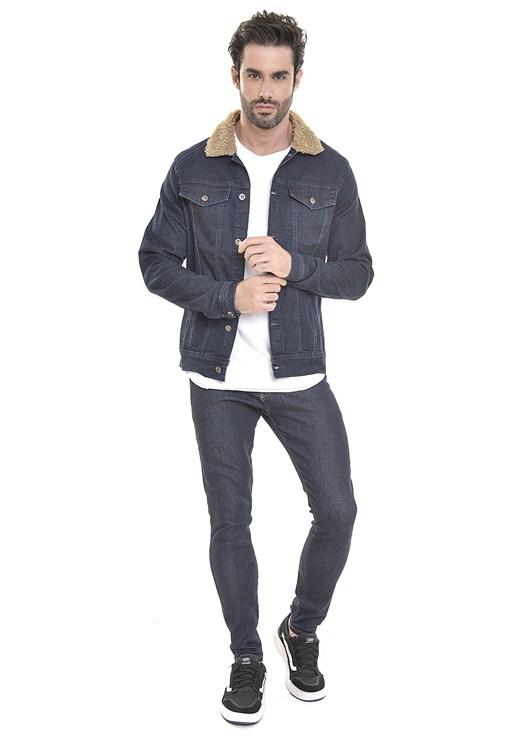 Jaqueta Jeans Dialogo Slim Gola Com Pelo De Carneiro Masculina