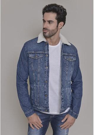 Jaqueta Jeans Dialogo Vintage Forrada Com Bolsos e Botões Frontais Masculina