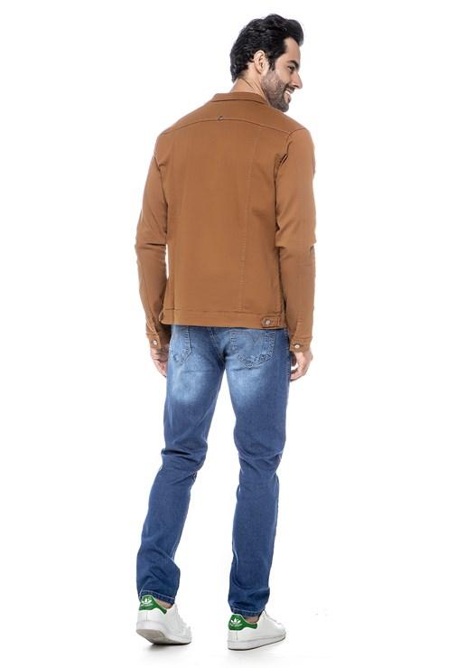 Jaqueta Jeans Lemier Collection Com Botões Na Frente Caramelo Masculina
